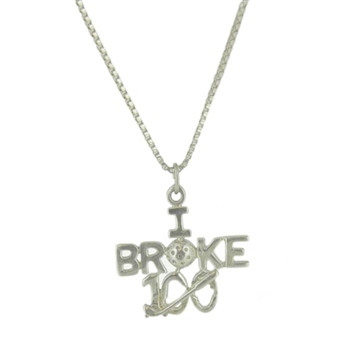 I Broke 100- Sterling Silver Pendant Necklace