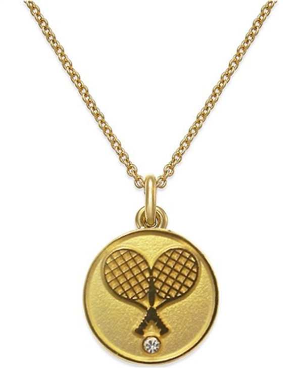 Gold Crossed Racquet Pendant Necklace