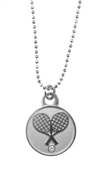 Silver Crossed Racquet Pendant Necklace