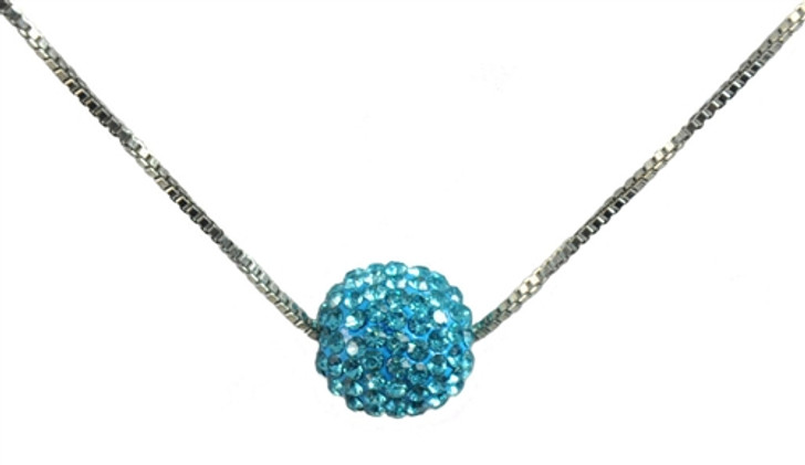 Blue Crystal Encrusted Golf Ball Necklace