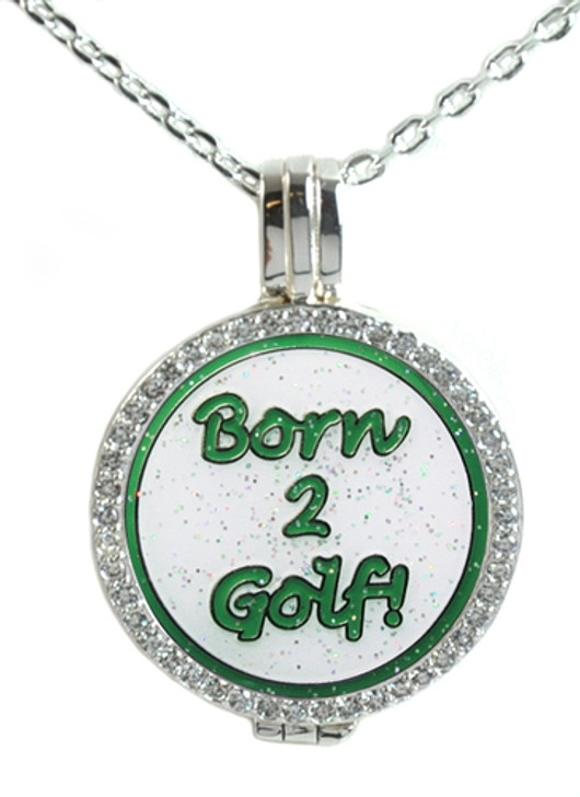 Crystal Live Love Life Silver Necklace with Glitzy Born 2 Golf (Green) Charm