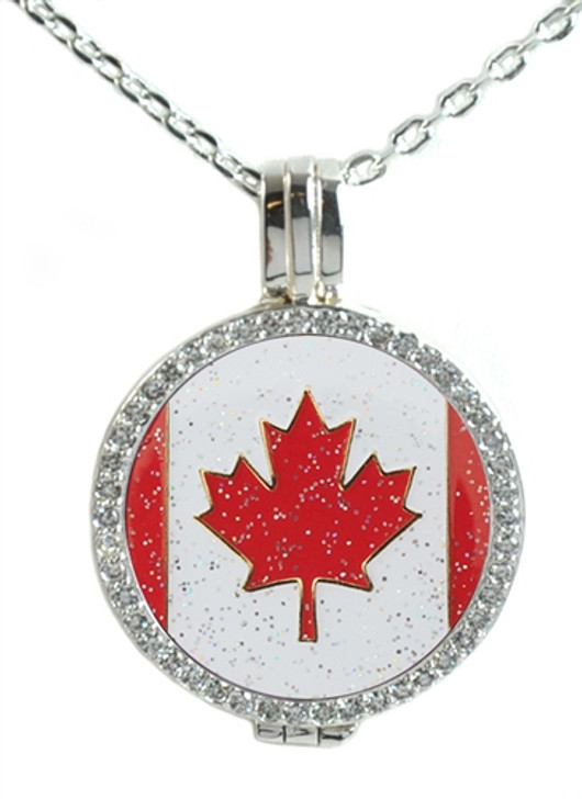 Crystal Live Love Life Silver Necklace with Glitzy Canadian Flag Charm