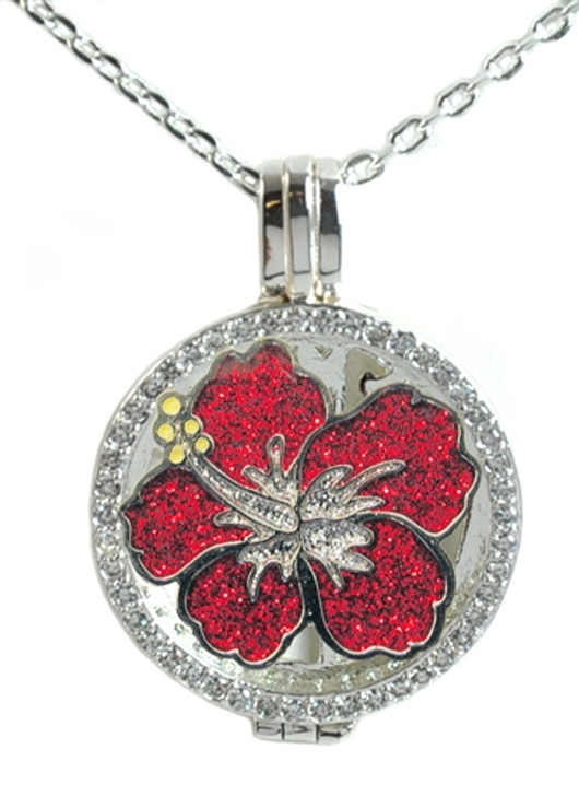 Crystal Live Love Life Silver Necklace with Glitzy Hibiscus Charm