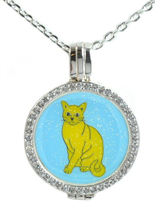 Crystal Live Love Life Silver Necklace with Glitzy Kitty Charm