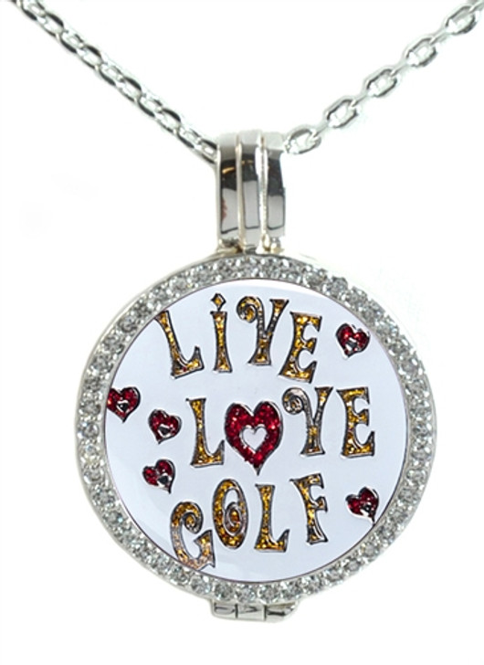Crystal Live Love Life Silver Necklace with Glitzy Live Love Golf Charm