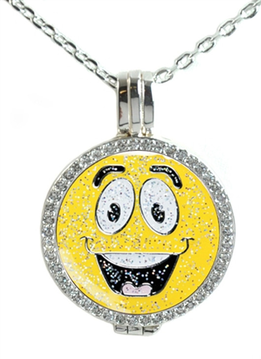 Crystal Live Love Life Silver Necklace with Emoji Glitzy Made It Charm
