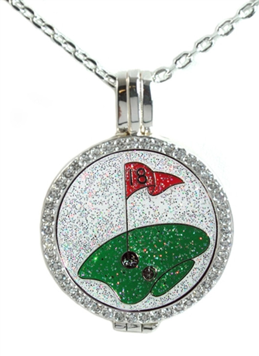 Crystal Live Love Life Silver Necklace with Glitzy The Green Crystal Charm