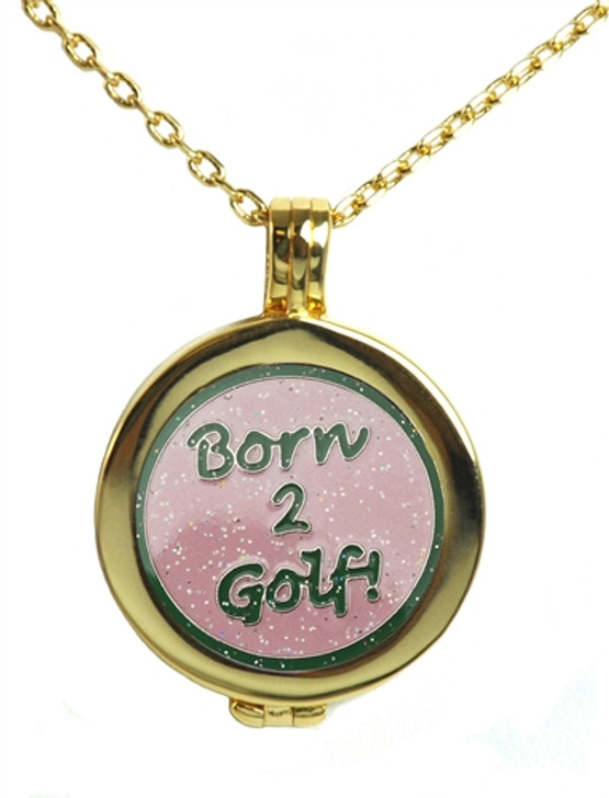Live Love Life Gold Necklace with Glitzy Born 2 Golf (Pink) Charm