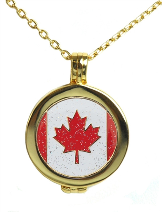 Live Love Life Gold Necklace with Glitzy Canadian Flag Charm