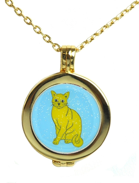 Live Love Life Gold Necklace with Glitzy Kitty Charm