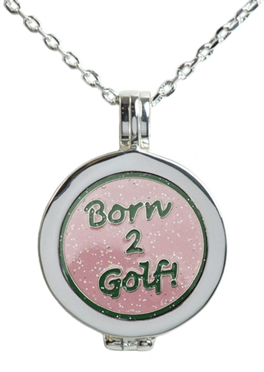 Live Love Life Silver Necklace with Glitzy Born 2 Golf (Pink) Charm
