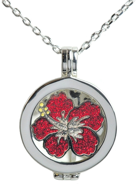 Live Love Life Silver Necklace with Glitzy Hibiscus Charm