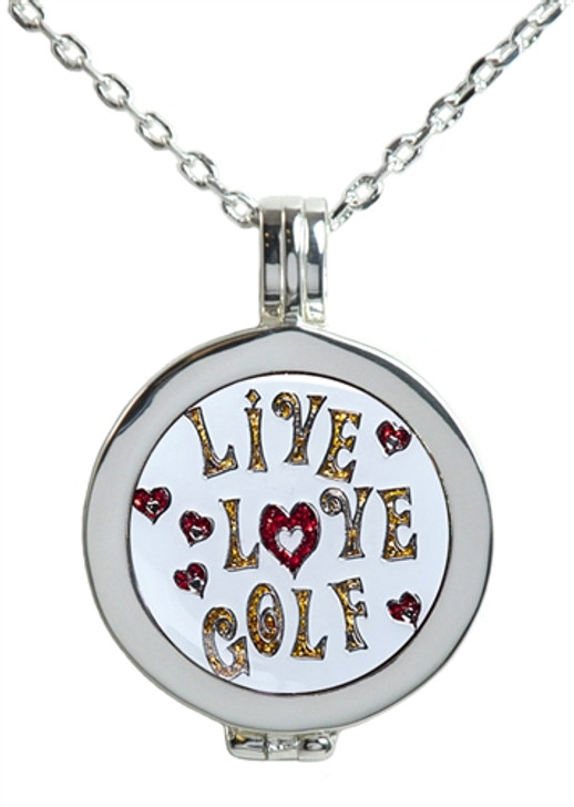 Live Love Life Silver Necklace with Glitzy Live Love Golf Charm
