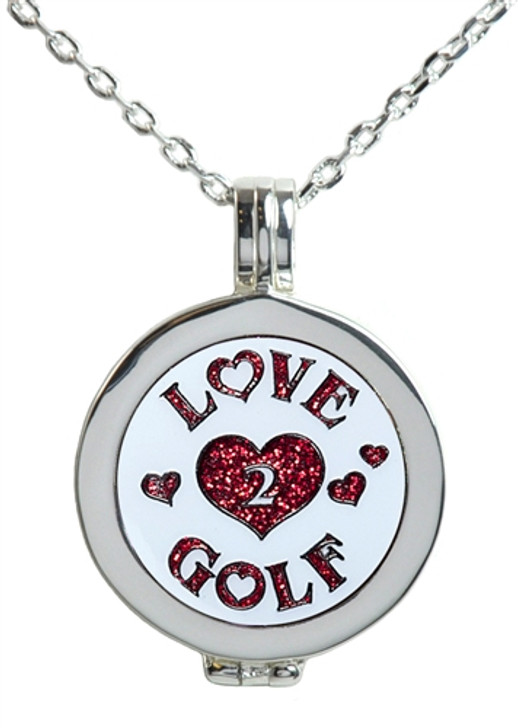 Live Love Life Silver Necklace with Glitzy Love 2 Golf Charm