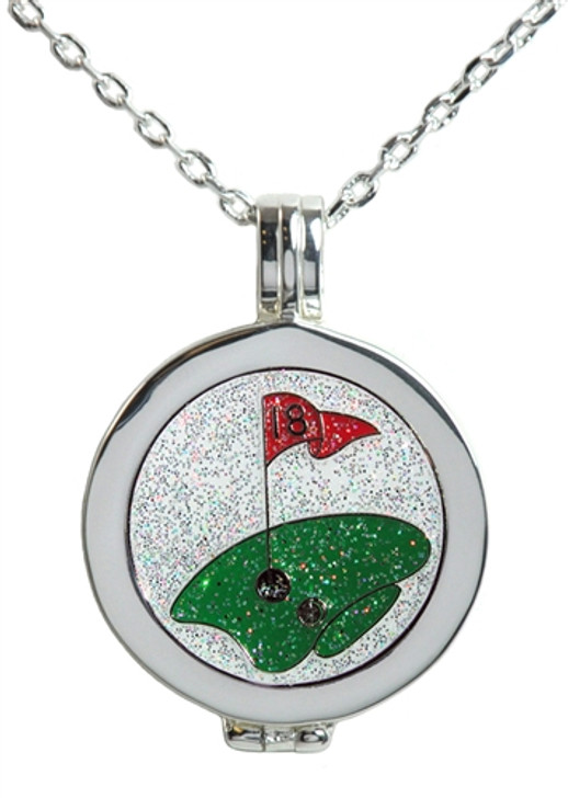 Live Love Life Silver Necklace with Glitzy The Green Charm