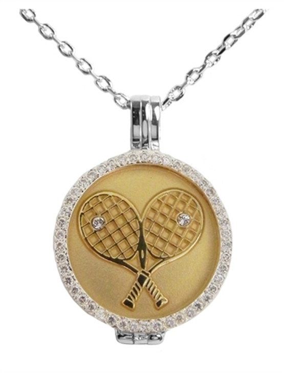 Crystal Live Love Life Silver Necklace with Gold Plated Crossed Racquets Charm