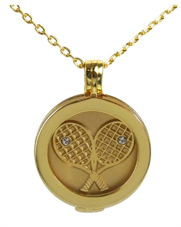 Live Love Life Gold Necklace with Gold Plated Crossed Racquets Charm