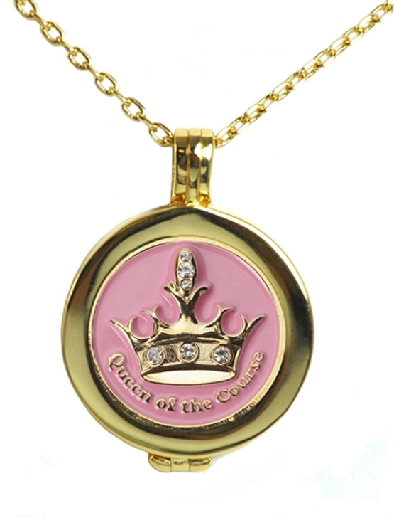 Live Love Life Gold Necklace with Pink Queen of the Course adorned with Crystals from Swarovski® Charm