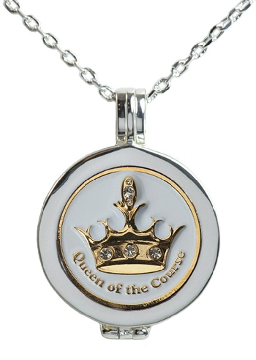 Live Love Life Silver Necklace with White Queen of the Course adorned with Crystals from Swarovski® Charm