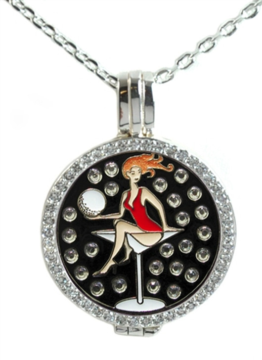 Crystal Live Love Life Silver Necklace with Golfaholic adorned with Crystals from Swarovski® Charm