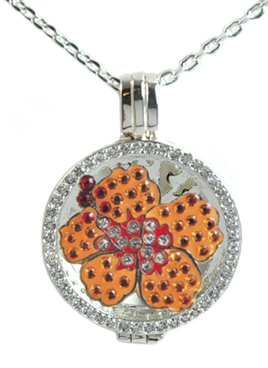 Crystal Live Love Life Silver Necklace with Orange Hibiscus adorned with Crystals from Swarovski® Charm