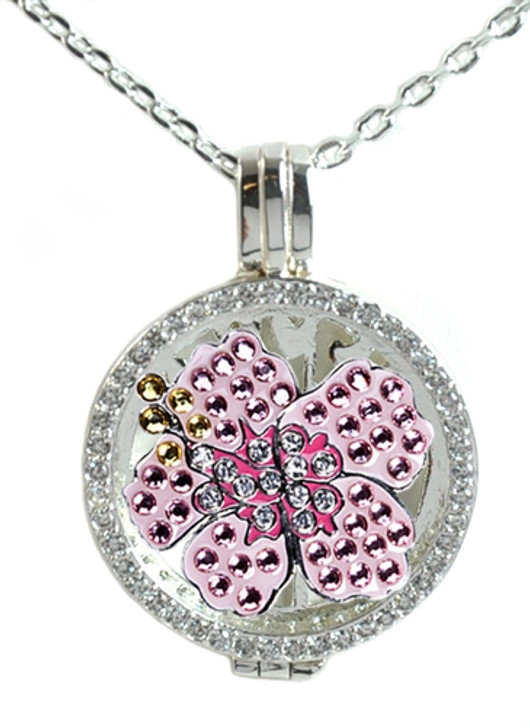 Crystal Live Love Life Silver Necklace with Pink Hibiscus adorned with Crystals from Swarovski® Charm