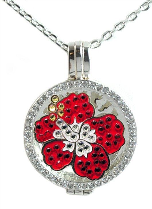 Crystal Live Love Life Silver Necklace with Red Hibiscus adorned with Crystals from Swarovski® Charm