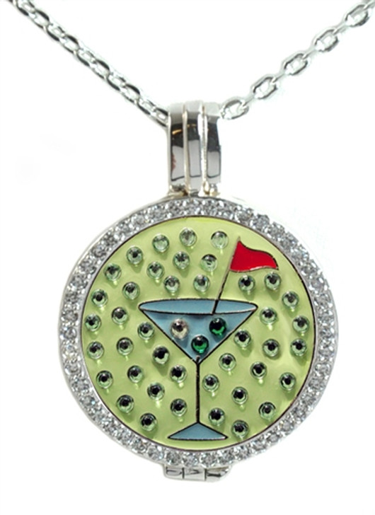 Crystal Live Love Life Silver Necklace with Blue Martini adorned with Crystals from Swarovski® Charm