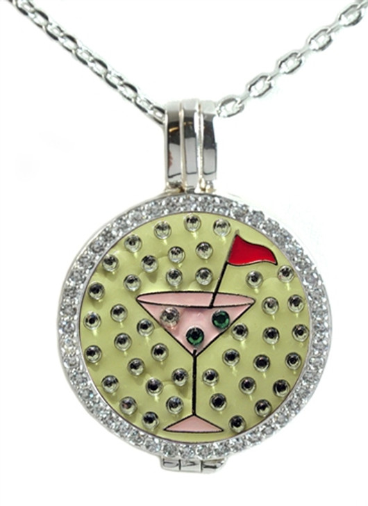 Crystal Live Love Life Silver Necklace with Pink Martini adorned with Crystals from Swarovski® Charm