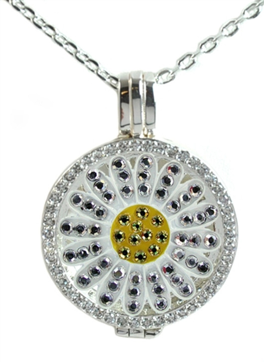 Crystal Live Love Life Silver Necklace with White Sunflower adorned with Crystals from Swarovski® Charm