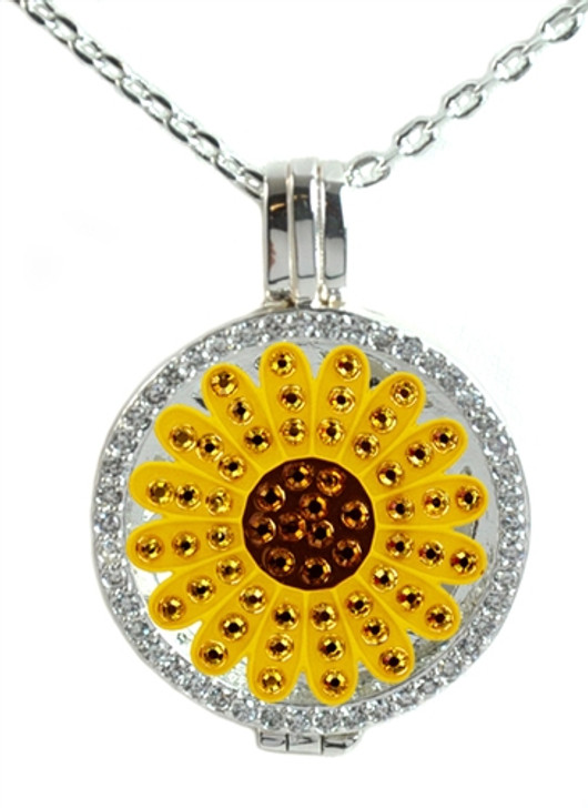 Crystal Live Love Life Silver Necklace with Yellow Sunflower adorned with Crystals from Swarovski® Charm
