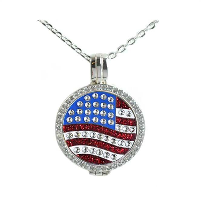 Crystal Live Love Life Silver Necklace with US Flag adorned with Crystals from Swarovski® Charm