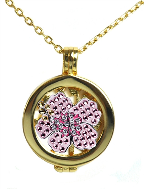 Live Love Life Gold Necklace with Pink Hibiscus adorned with Crystals from Swarovski® Charm