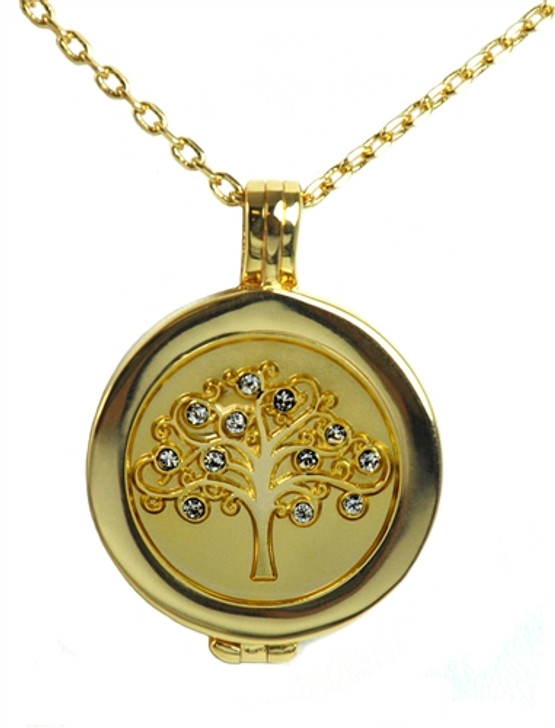 Live Love Life Gold Necklace with Gold Tree of Life adorned with Crystals from Swarovski® Charm