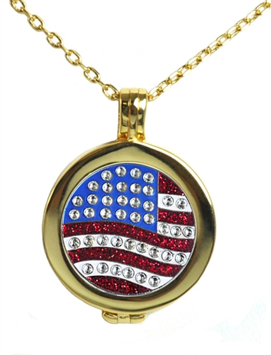 Live Love Life Gold Necklace with US Flag adorned with Crystals from Swarovski® Charm