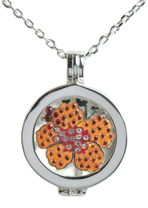 Live Love Life Silver Necklace with Orange Hibiscus adorned with Crystals from Swarovski® Charm