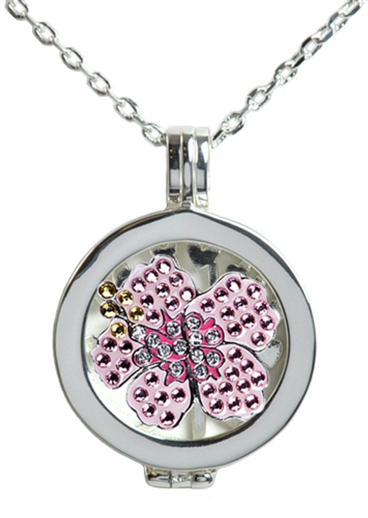 Live Love Life Silver Necklace with Pink Hibiscus adorned with Crystals from Swarovski® Charm