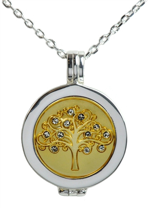 Live Love Life Silver Necklace with Tree of Life adorned with Crystals from Swarovski® Charm