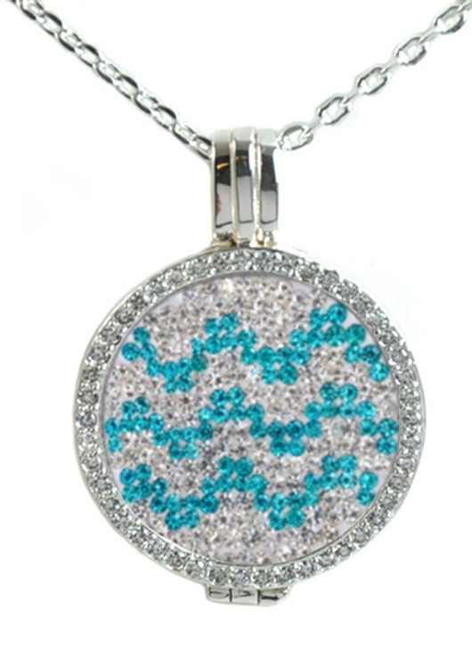 Crystal Live Love Life Silver Necklace with Chevron Micro Pave Crystal Charm