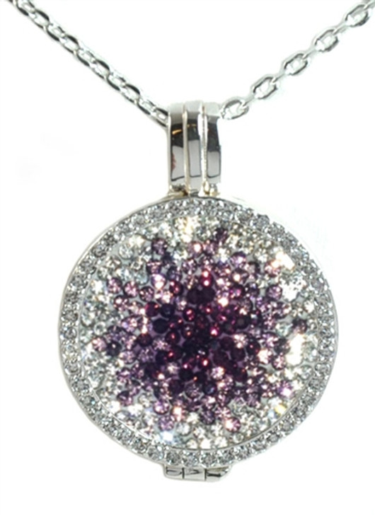 Crystal Live Love Life Silver Necklace with Purple Haze Micro Pave Crystal Charm