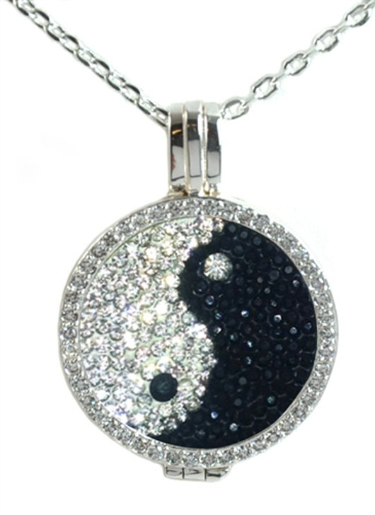 Crystal Live Love Life Silver Necklace with Yin and Yang Micro Pave Crystal Charm