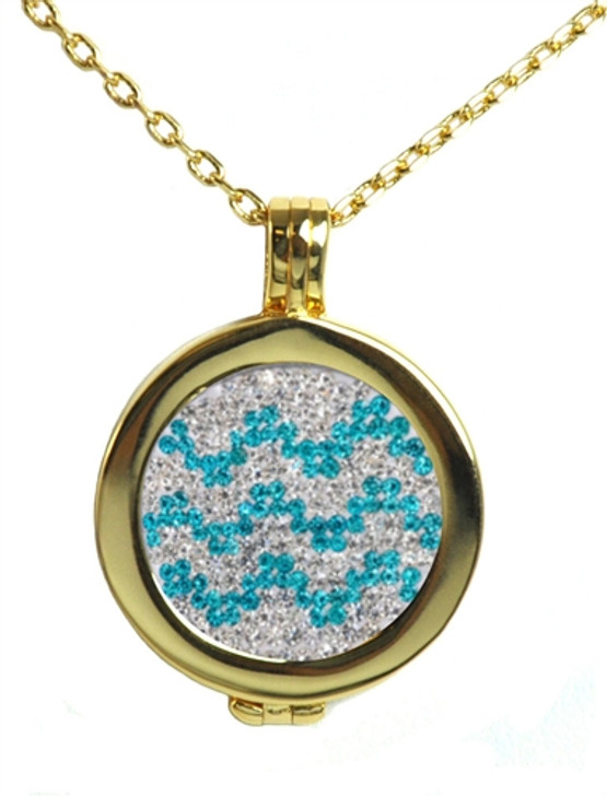 Live Love Life Gold Necklace with Chevron Micro Pave Crystal Charm