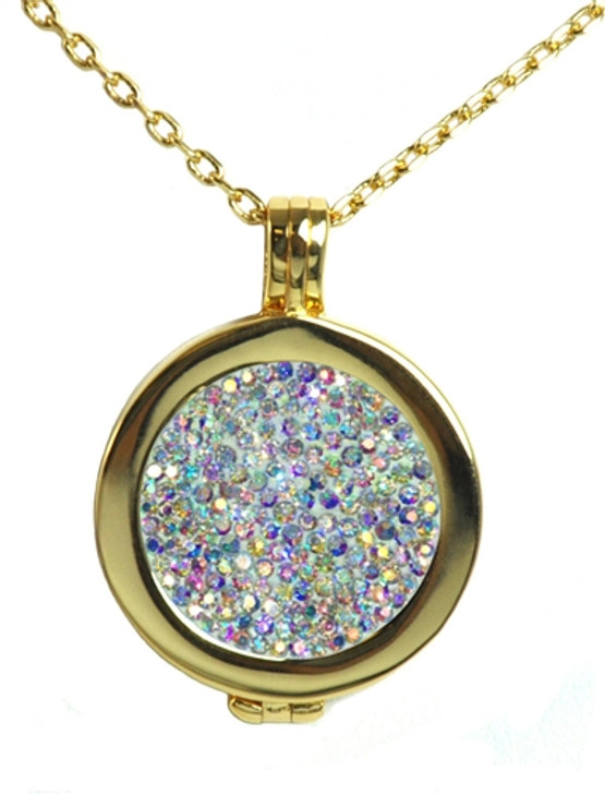 Live Love Life Gold Necklace with Ice Micro Pave Crystal Charm