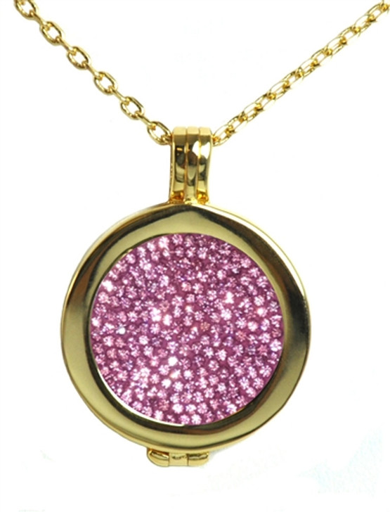 Live Love Life Gold Necklace with Just Rosy Micro Pave Crystal Charm