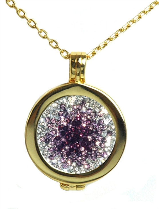 Live Love Life Gold Necklace with Purple Haze Micro Pave Crystal Charm