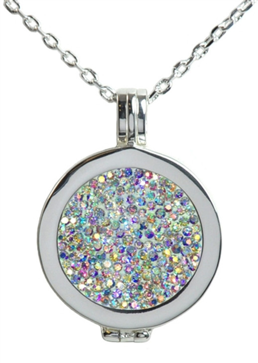Live Love Life Silver Necklace with Ice Micro Pave Crystal Charm