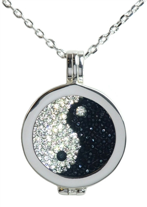 Live Love Life Silver Necklace with Yin and Yang Micro Pave Crystal Charm