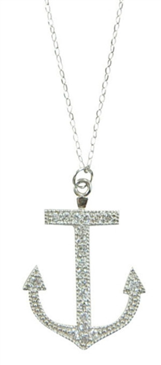 Anchor CZ Stone & Sterling Silver Necklace