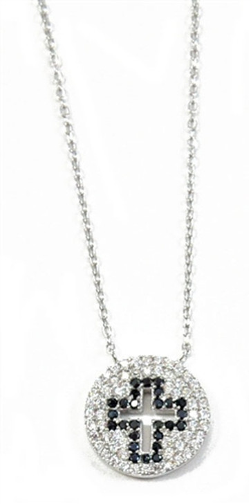 Black Cut-Out Cross CZ Stones and Sterling Silver Necklace