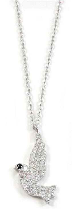 Dove CZ Stones and sterling Silver Necklace